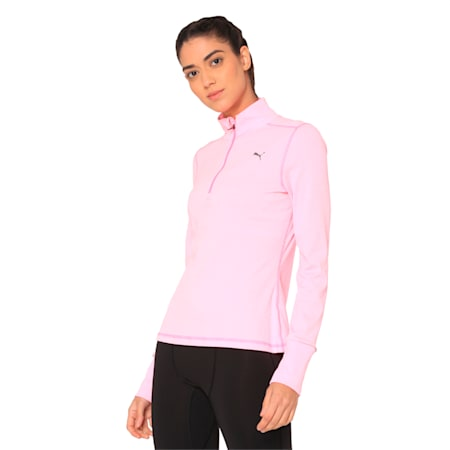 Ignite Half Zip Women's Running Pullover, KNOCKOUT PINK Heather, small-IND