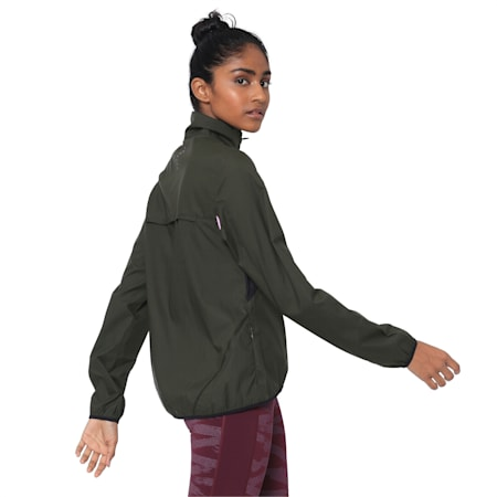 IGNITE Zip-Up Women's Running Wind Jacket, Forest Night-Black-Orchid, small-IND
