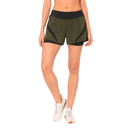 Running Women's IGNITE 2-in-1 Shorts, Forest Night-Puma Black, small-IND