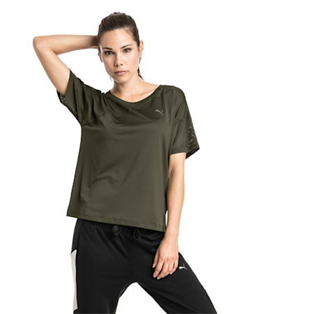 A.C.E. Mesh Blocked Women's Training Top, Forest Night, small-IND