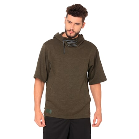 Training Men's Energy Short Sleeve Hoodie, Forest Night Heather, small-IND