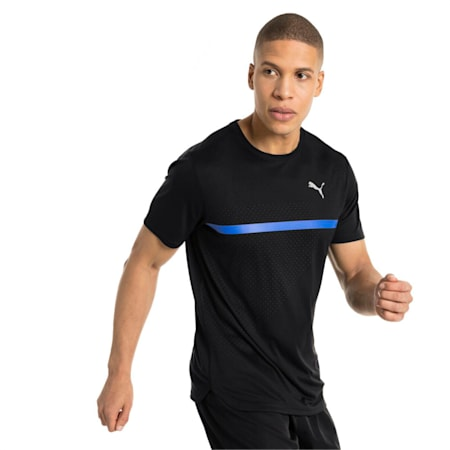 IGNITE Graphic Men's Running Tee, Puma Black-Iron Gate printQ3, small-IND