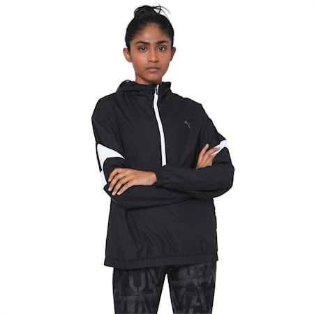 A.C.E Half Zip Hooded Women's Jacket, Puma Black-Puma White, small-IND