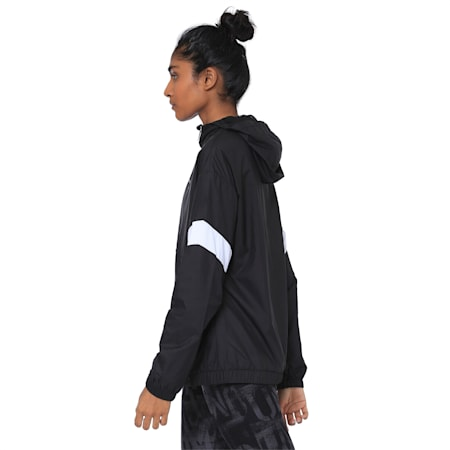 A.C.E Half Zip Hooded Women's Jacket, Puma Black-Puma White, small-IND