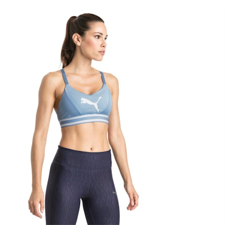 Mid Impact Logo Women's Bra Top, CERULEAN-white CAT, small-IND