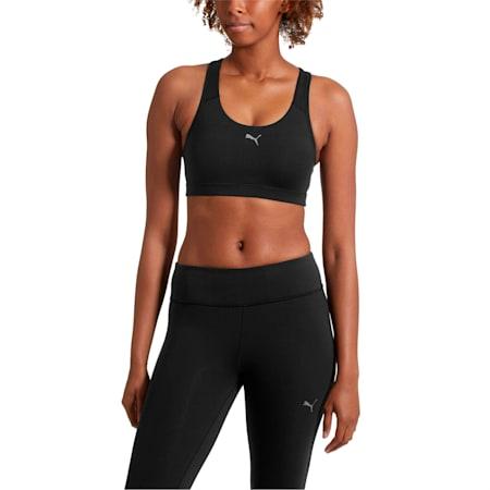 4Keeps Women's Mid Impact Bra, Puma Black-white PUMA back, small