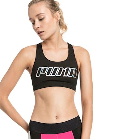 4Keeps Mid Impact Women's Bra Top, Black-Holographic CF PUMA, small