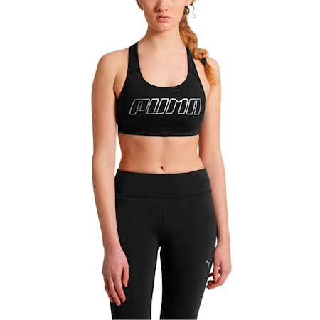 4Keeps Women's Mid Impact Bra, Puma Black-Silver PUMA, small