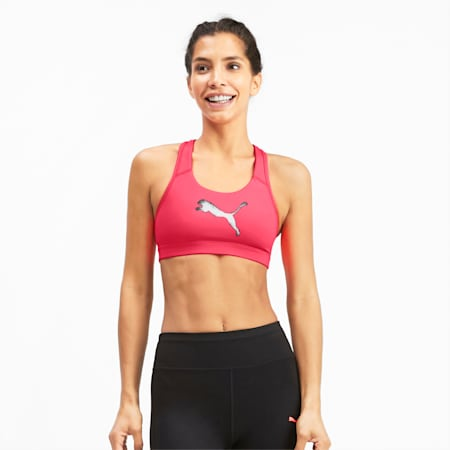 4Keeps Mid Impact Women's Bra Top, Pink Alert, small