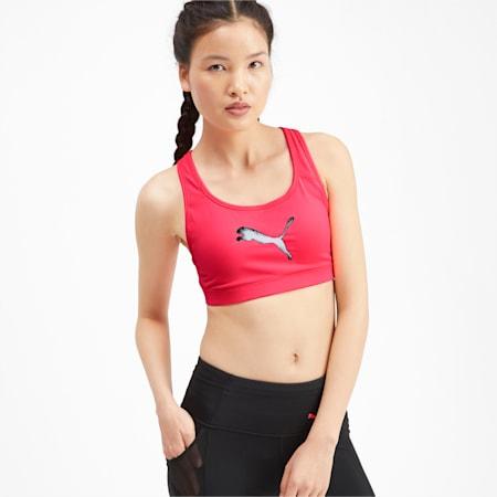 Training Women's 4Keeps Mid Impact Bra Top, Pink Alert-CAT, small-IND
