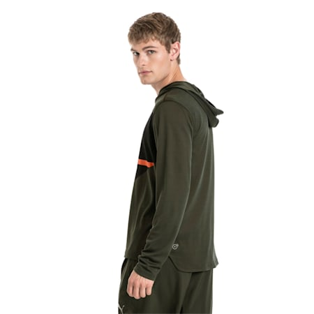Running Men's IGNITE Hooded Long Sleeve, Forest Night-Puma Black, small-IND