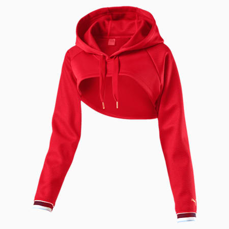 Varsity Cropped Cover-Up Women's Hoodie, Ribbon Red, small-IND