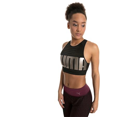Mid Impact Women's Bra Top, Puma Black-MetallicAshPUMA, small-IND