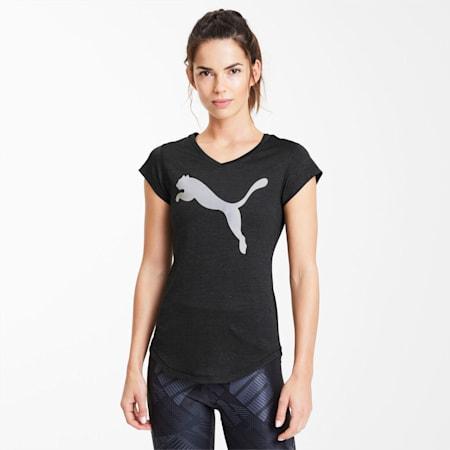 Camiseta de entrenamiento Heather con cuello de pico para mujer, Puma Blk Heather-Silver Prt, small