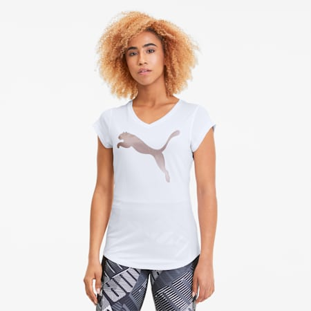 T-shirt da training Heather Cat donna con scollo a V, Puma White Htr-Rose Gold Prt, small