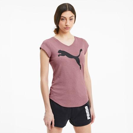 Heather Cat V-neck Women's Training T-Shirt, Foxglove Heather, small-IND