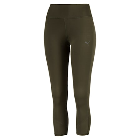 Always On Solid 3/4 Women's Tights, Forest Night, small-IND