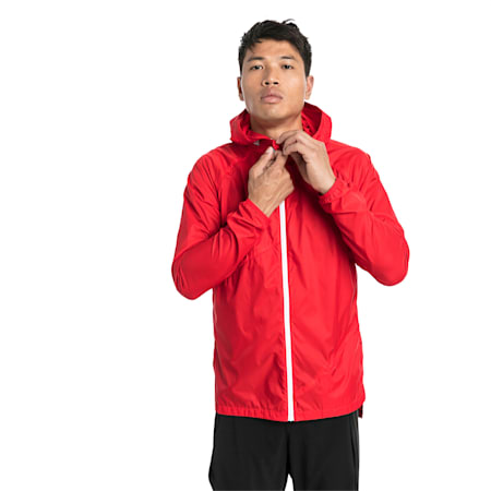 Lightweight Full Zip Hooded Men's Jacket, High Risk Red, small-SEA