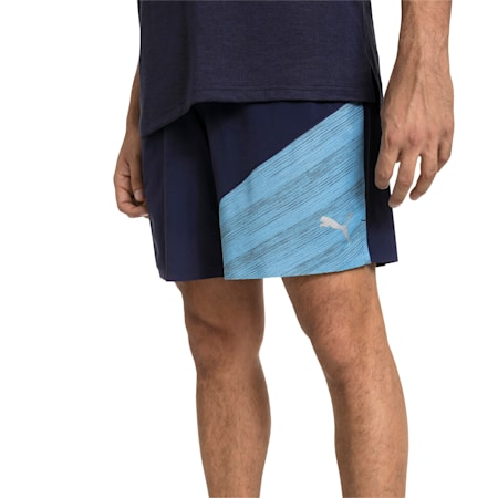"""Pace 7"""" 2 in 1 Men's Running Shorts, Peacoat-Bonnie Blue Heather, small-IND"""