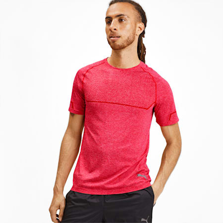 Energy Seamless Tee, High Risk Red Heather, small