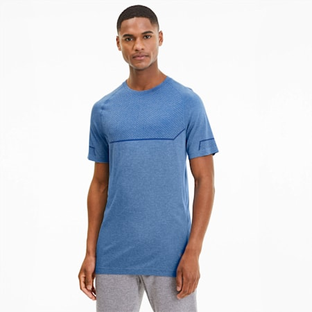 Energy Seamless Tee, Palace Blue Heather, small