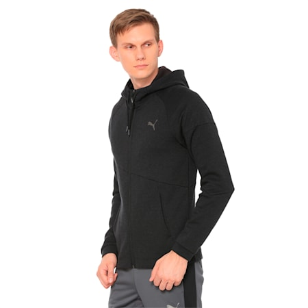BND Tech Second Layer Knitted Hooded Men's Jacket, Puma Black Heather, small-IND