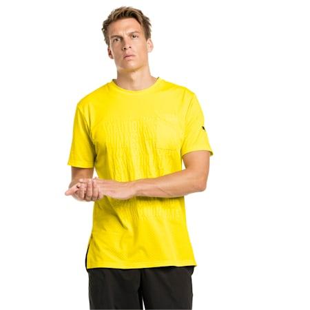 CAUTION Short Sleeve Men's Training Tee, Blazing Yellow, small-IND