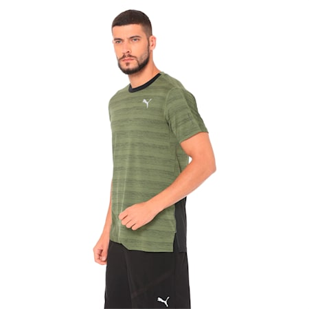 PACE Breeze Short Sleeve Men's Running Tee, Olivine-Puma Black, small-IND