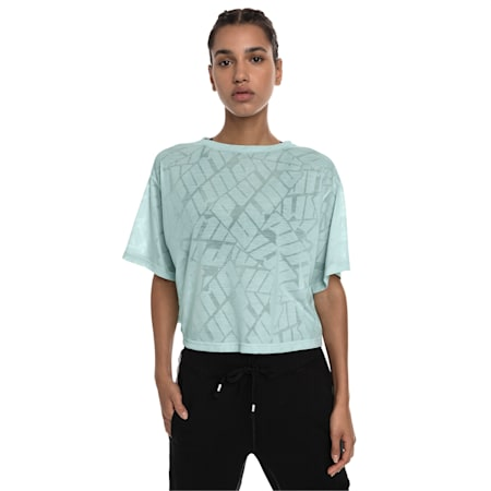 Show Off Cropped Women's Tee, fair aqua Heather, small-IND