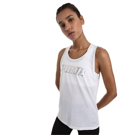 Own It Women's Tank Top, Puma White-PUMA wording, small-IND