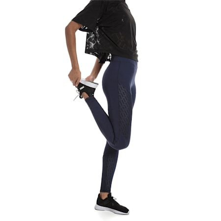 Bold Graphic Women's Training Leggings, Peacoat-Emboss, small