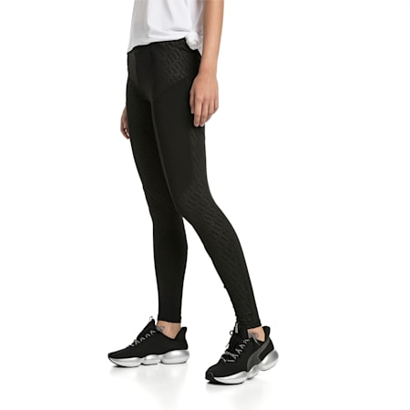 Bold Graphic Women's Training Leggings, Puma Black-Emboss, small-SEA