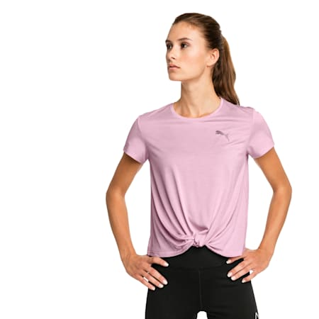 Turn It Up Short Sleeve trainingsshirt voor dames, Pale Pink Heather, small