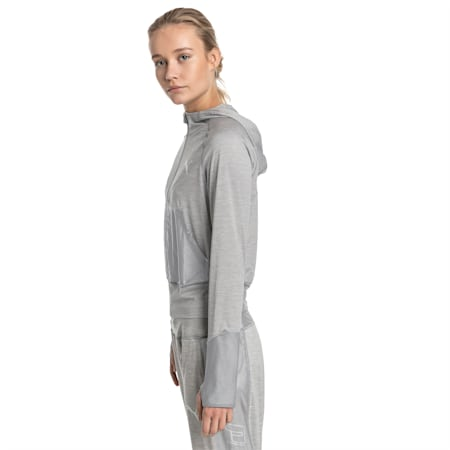Knockout Knitted Women's Sweat Jacket, Light Gray Heather, small-IND
