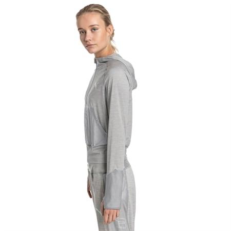 Knockout Knitted Women's Sweat Jacket, Light Gray Heather, small-SEA