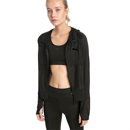 Knockout Knitted Women's Sweat Jacket, Puma Black Heather, small-SEA