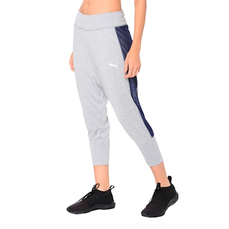 Knockout Woven Women's 3/4 Pants, Light Gray Heather, small-IND