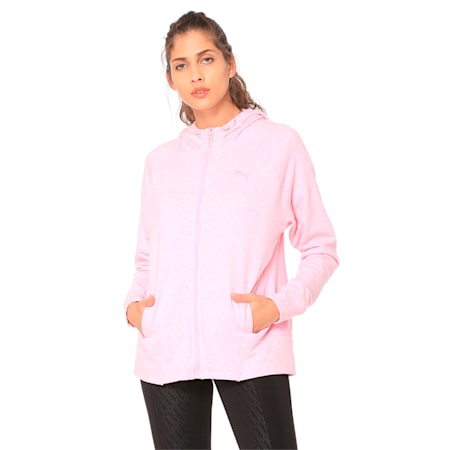 Yogini Knitted Full Zip Women's Track Jacket, Pale Pink Heather, small-IND