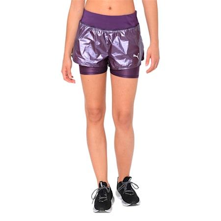 Blast Woven 2 in 1 Women's Running Shorts, Indigo-metallic, small-IND