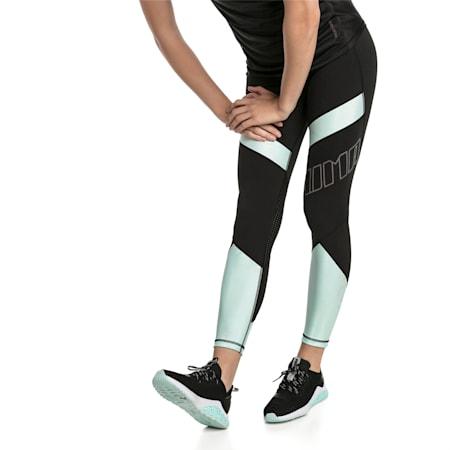 Elite Women's Running Leggings, Puma Black-Fair Aqua, small-SEA