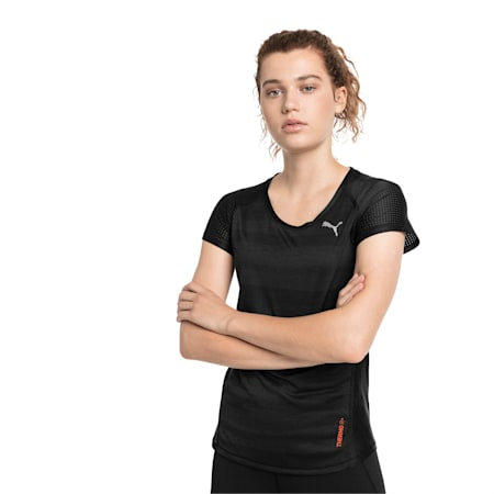 Thermo-R+ Short Sleeve Women's Running Tee, Puma Black Heather, small-IND