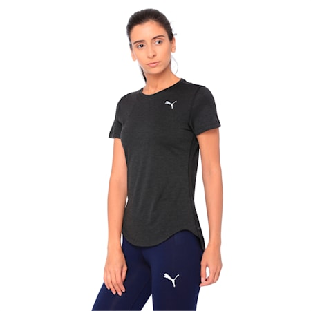 Epic Heather Short Sleeve Women's Running Tee, Puma Black Heather, small-IND