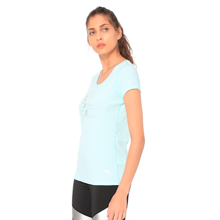 Ignite Short Sleeve Women's Running Tee, Fair Aqua, small-IND