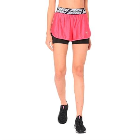 Blast 2 in 1 Woven Women's Running Shorts, Fuchsia Purple, small-IND