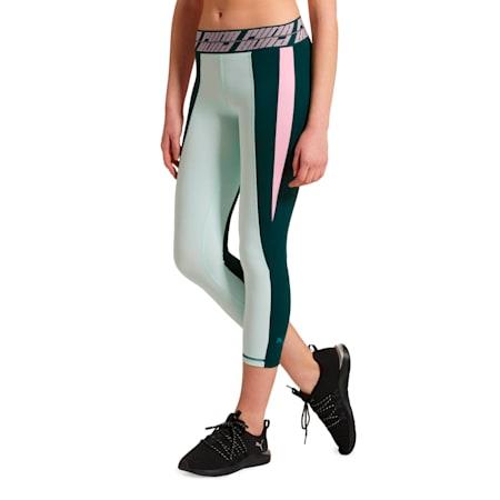 Own It Women's 3/4 Leggings, Ponderosa Pine-Fair Aqua, small