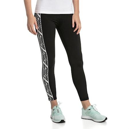 Feel It Women's Training Leggings, Puma Black-with White tape, small-SEA