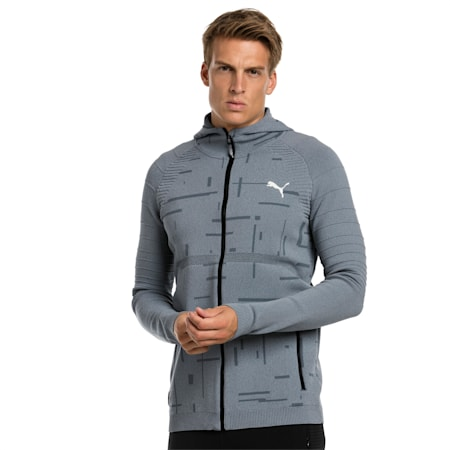Meska bluza z kapturem Energy evoKNIT treningowa na suwak, medium gray heather, small