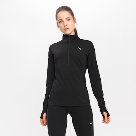 Ignite Long Sleeve Women's Running Pullover, Puma Black, small