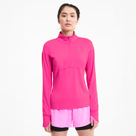 Ignite 1/4 dryCELL Women's Running Pullover, Luminous Pink, small-IND