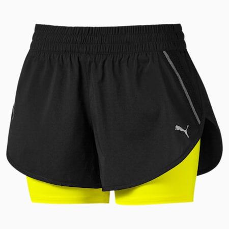Last Lap Woven 2-in-1 Women's Running Shorts, Puma Black-Yellow Alert, small-SEA